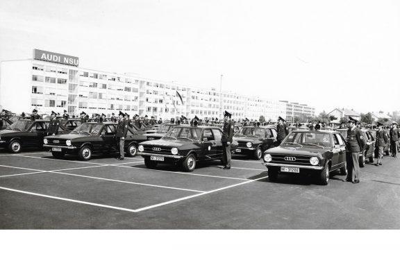 Livraison de 104 Audi 80 à la Police bavaroise en 1973