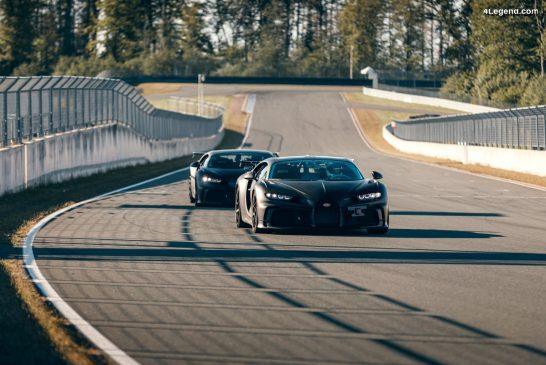 La Bugatti Chiron Pur Sport sur la piste d'essai pour des séances de mise au point