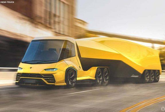 Un camion semi-remorque Lamborghini